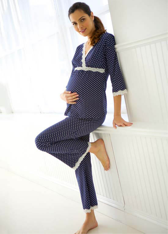 Dottie Navy Polkadot Maternity Nursing Pyjama Set by ...