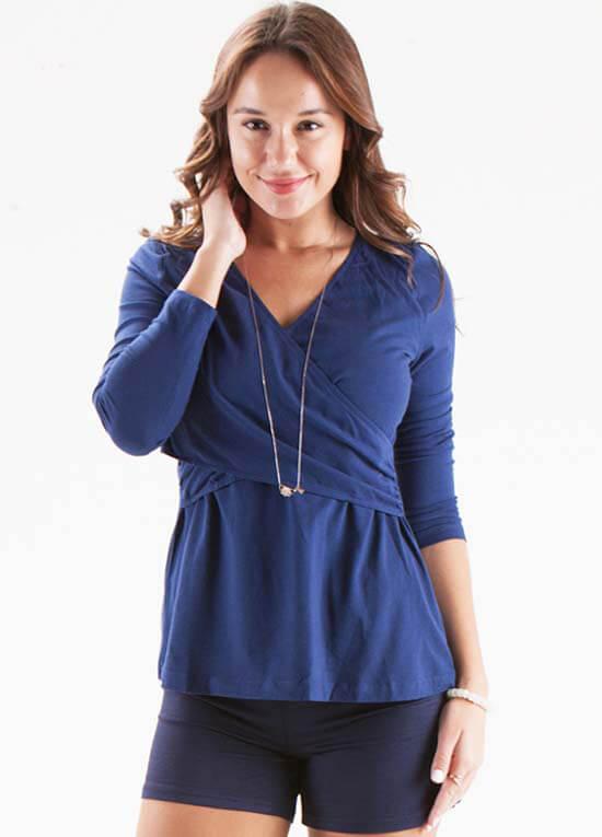 b0d0add9eaf65 Navy Blue Crossover Nursing Top by Dote Nursingwear