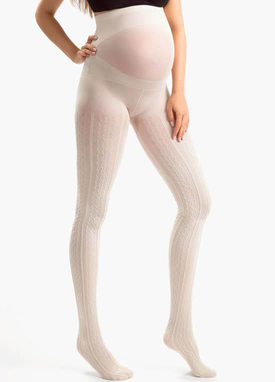 Creme Patterned Belly Support Maternity Tights by Blanqi