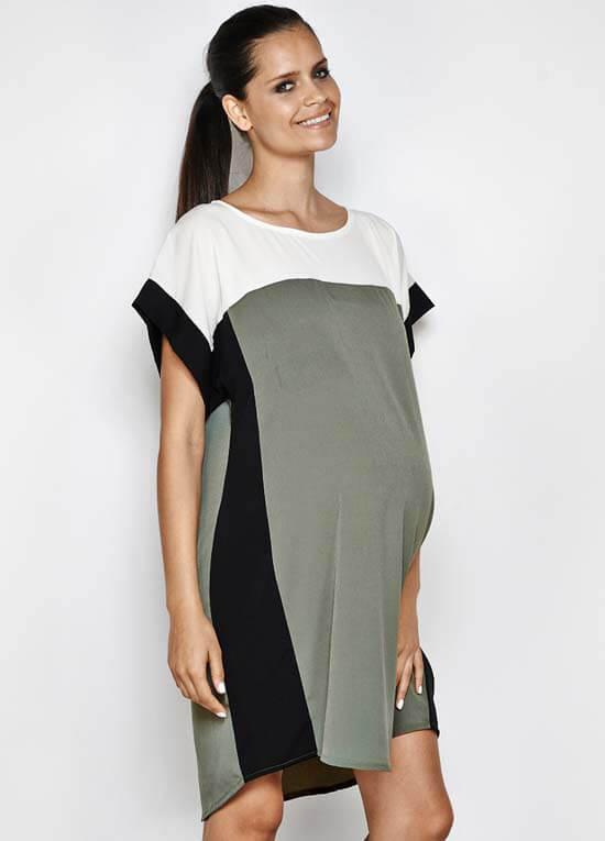 Layla Olive Green Colourblock Maternity Dress By Imanimo