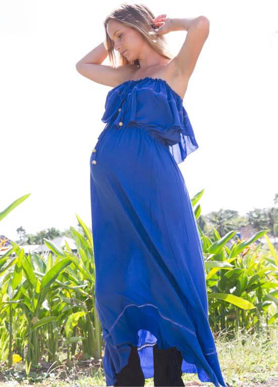 e753877de10c Little Wonder Blue Strapless Maternity Maxi Dress by Fillyboo