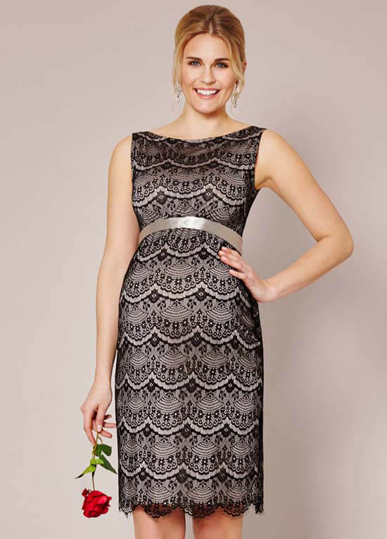Audrey Black Lace Maternity Cocktail Dress by Tiffany Rose