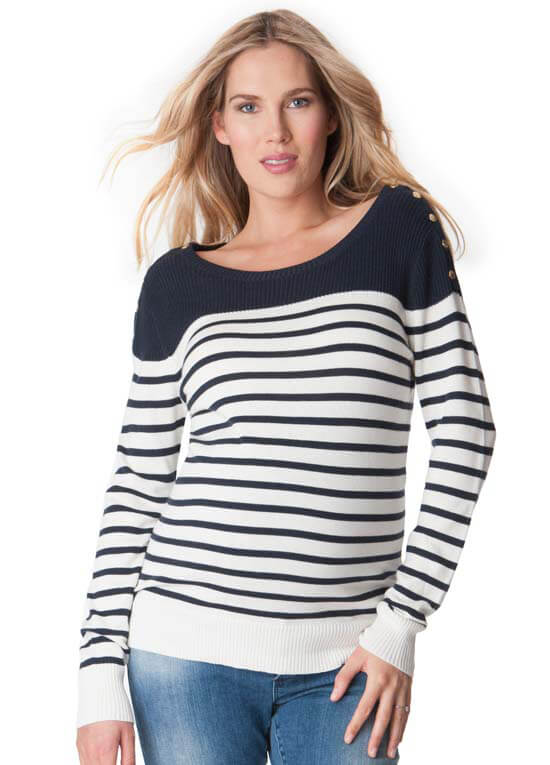 b5605fa68bf67 Blue Breton Striped Maternity Nursing Knit Jumper by Seraphine