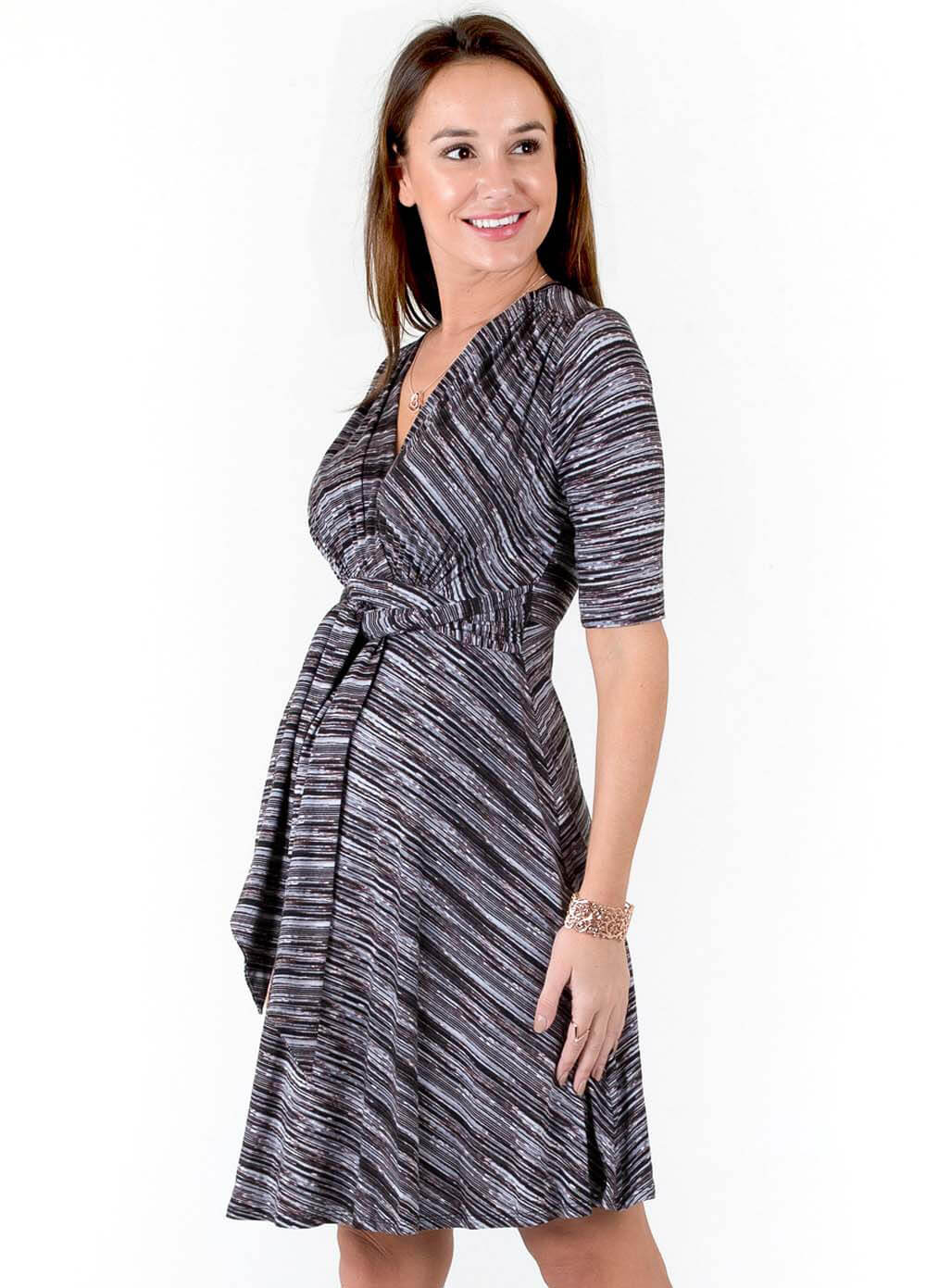 d47932ed096 Front Tie Maternity Dress in Black Space Dye by Maternal America