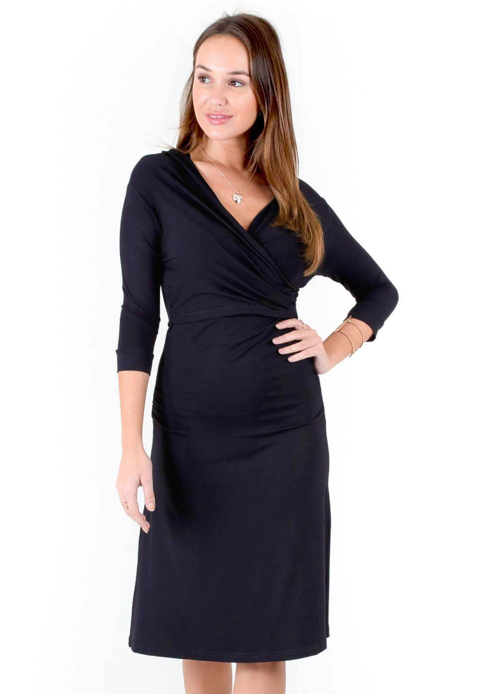 ca694b7f6d3 Shell Maternity Nursing Dress in Black by Quack Nursingwear