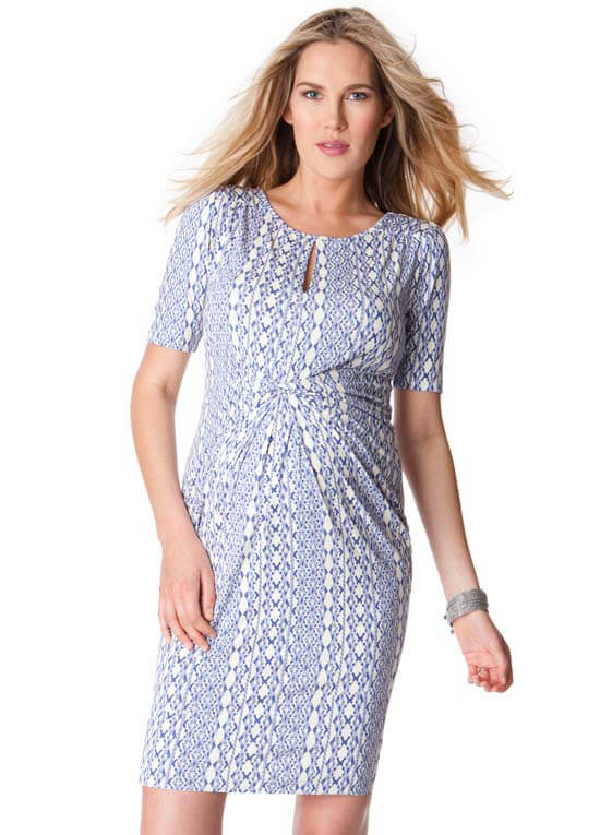 3bf4a0994ed9f Queen Bee Blue Aztec Print Twist Front Maternity Dress by Seraphine