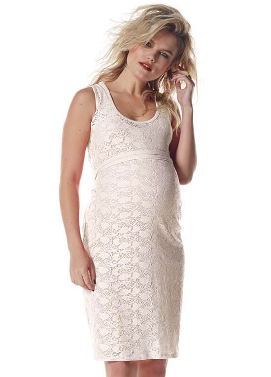 caa9d5a9f48 Queen Bee Ecru (Off-White) Lace Maternity Dress by Queen mum