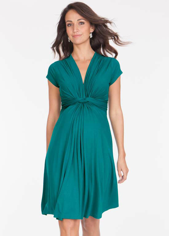 f0217cc13d839 Peacock Green Knot Front Maternity Dress by Seraphine
