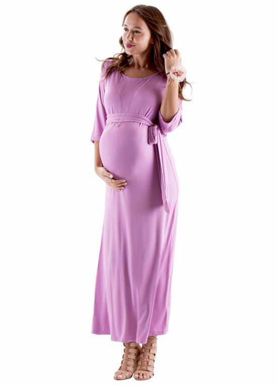 Sydney Maternity Maxi Dress in Persian Rose by Trimester Clothing