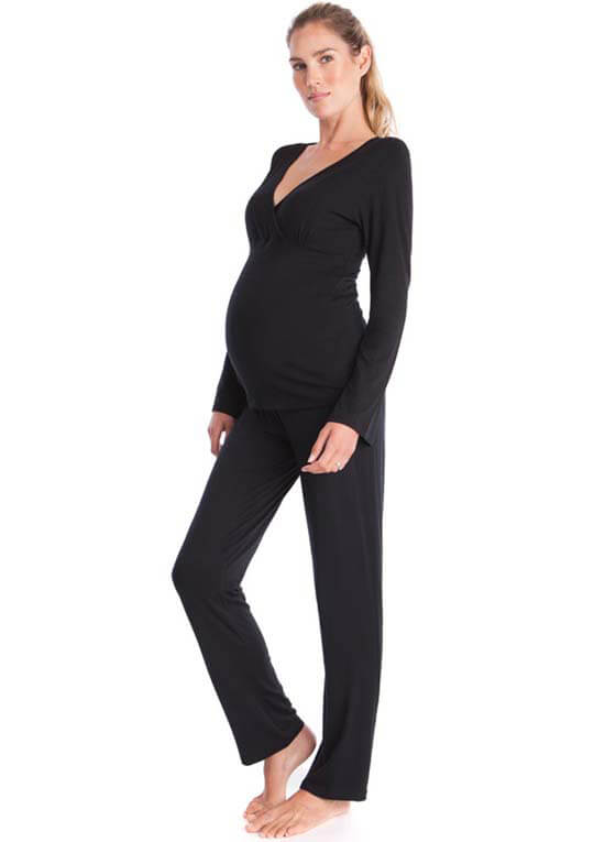Bamboo Maternity Nursing Loungewear Set in Black by Seraphine