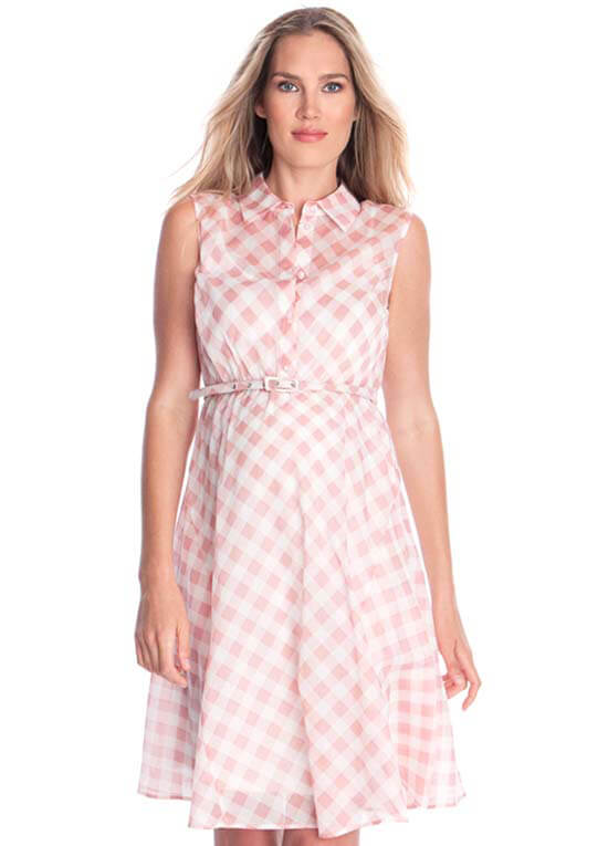 265051e2a7d Queen Bee Gingham Cotton Maternity Dress in Pink Check by Seraphine