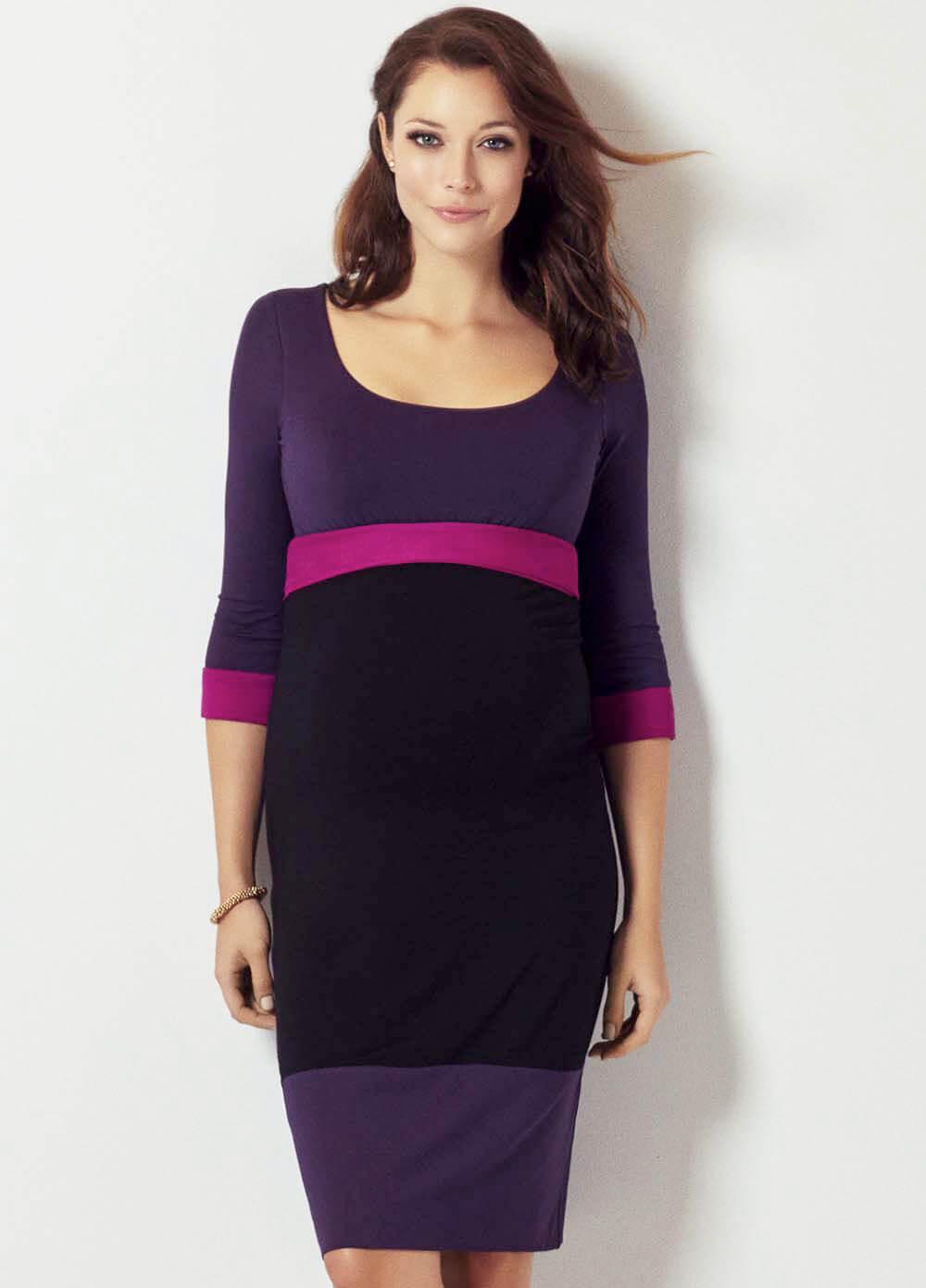 Purpleblack colour block maternity dress by tiffany rose ombrellifo Images
