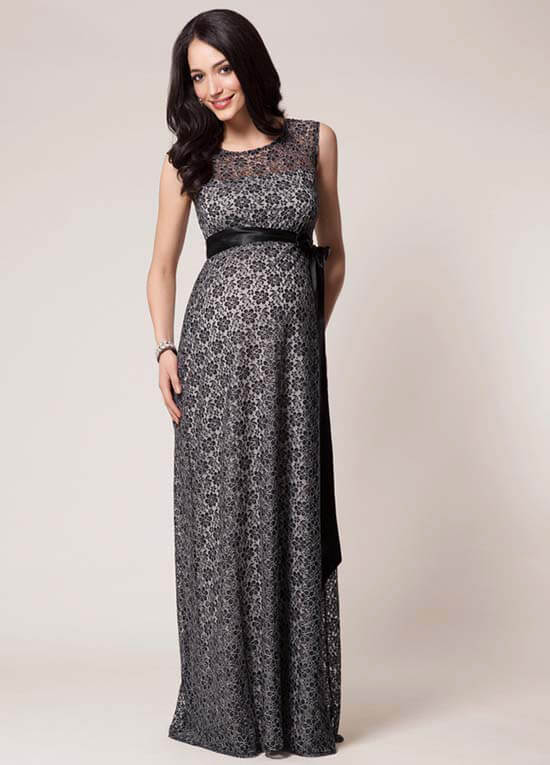 Daisy Black/Silver Lace Maternity Evening Gown by Tiffany Rose