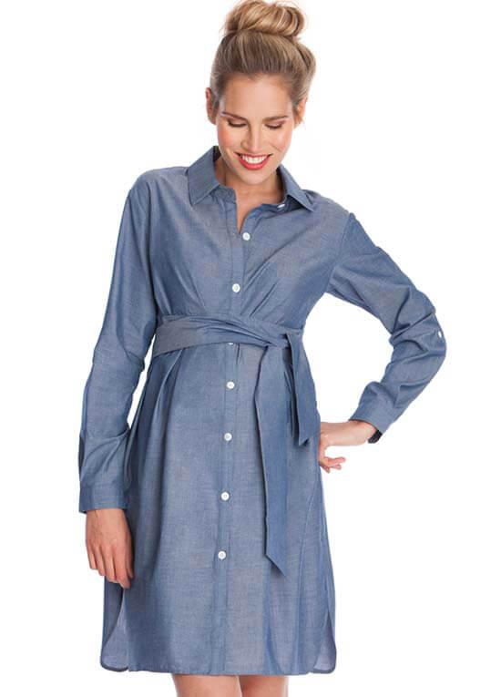 6d87d1bb150 Abalina Chambray Maternity Shirt Dress by Seraphine