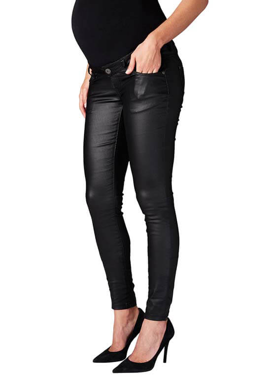 Coated Skinny Maternity Jeans in Black by Supermom