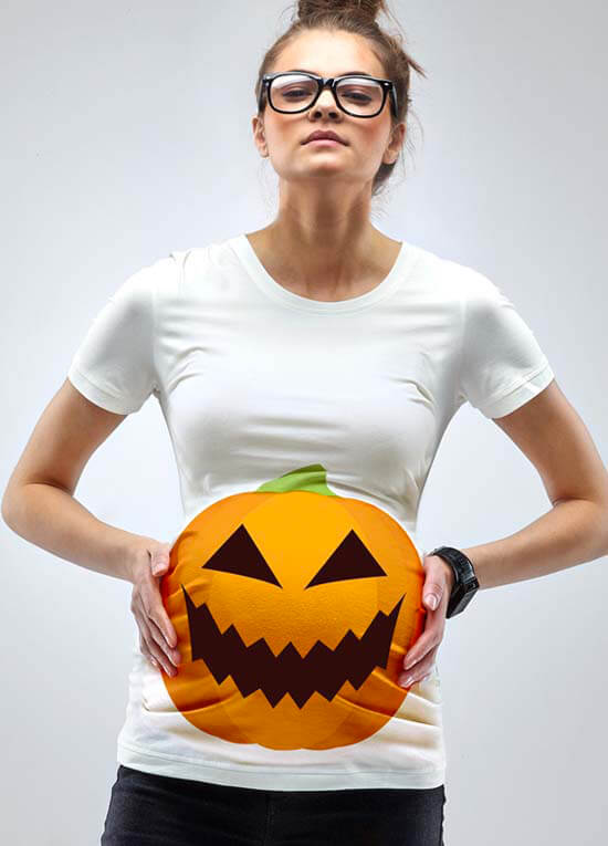 a pumpkin bump halloween maternity t shirt by mamagama