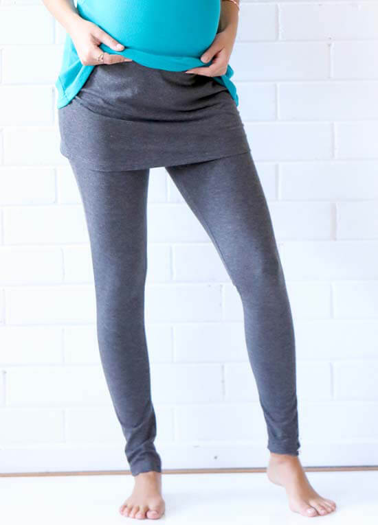 36ee77a1677cc Brooks Skirted Maternity Legging in Charcoal by Trimester