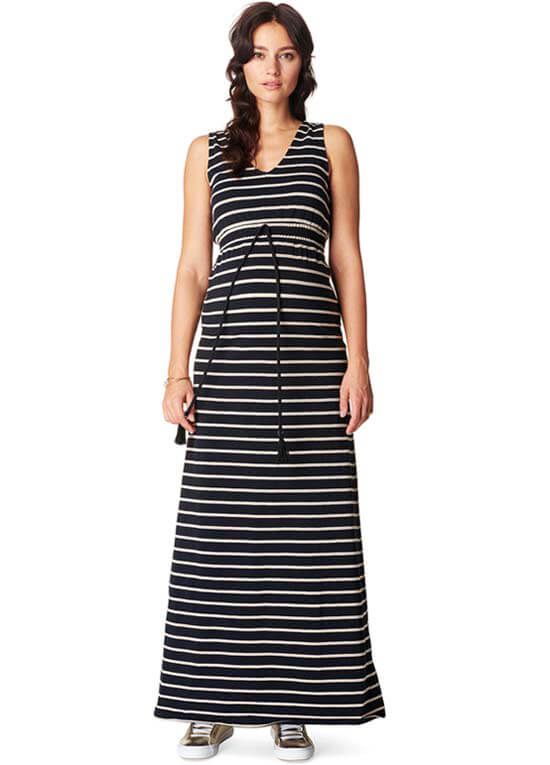 278591370ead Mila Maternity Maxi Dress in Black Stripes by Noppies