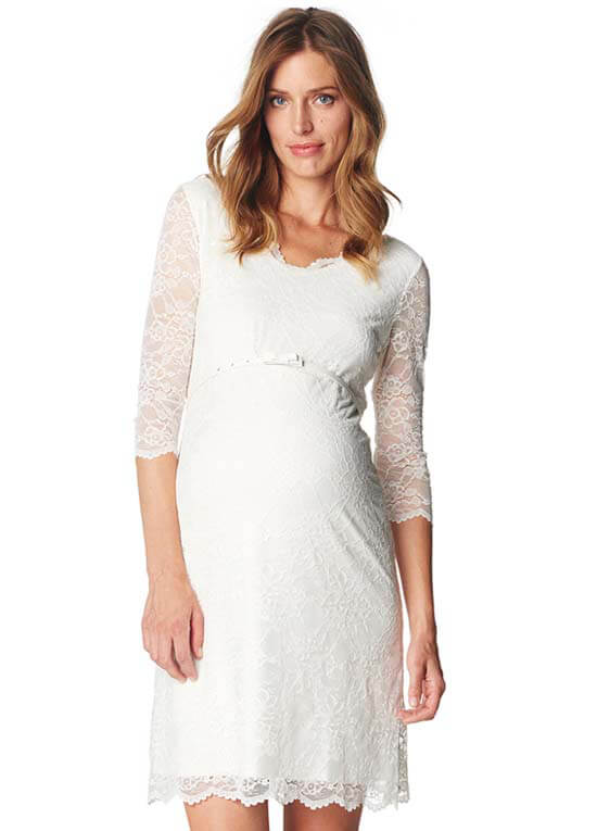 ee4d12d8482 Off White Lace Maternity Evening Dress by Esprit