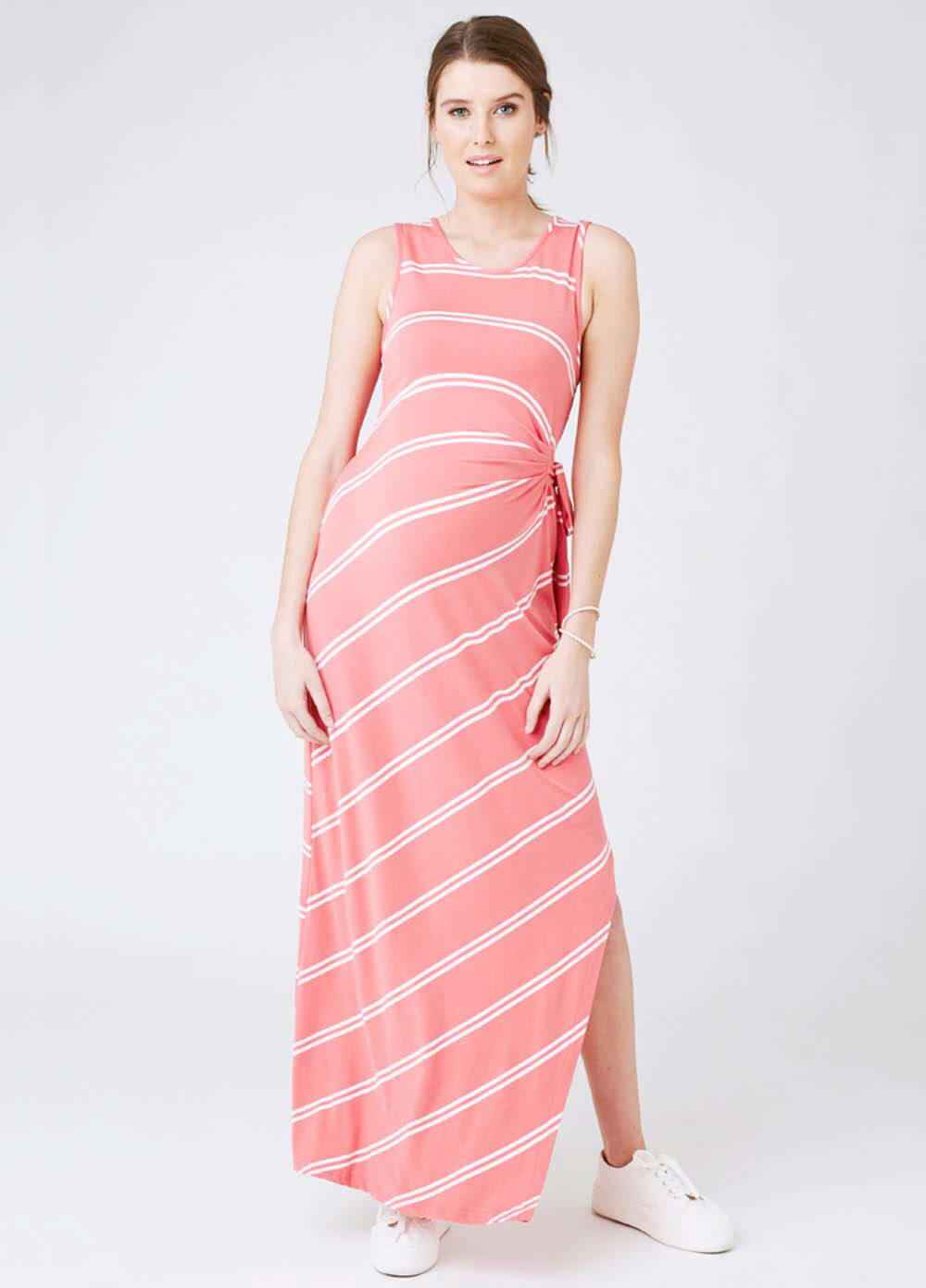 Side tie maxi maternity dress in coral stripe by ripe maternity ombrellifo Image collections