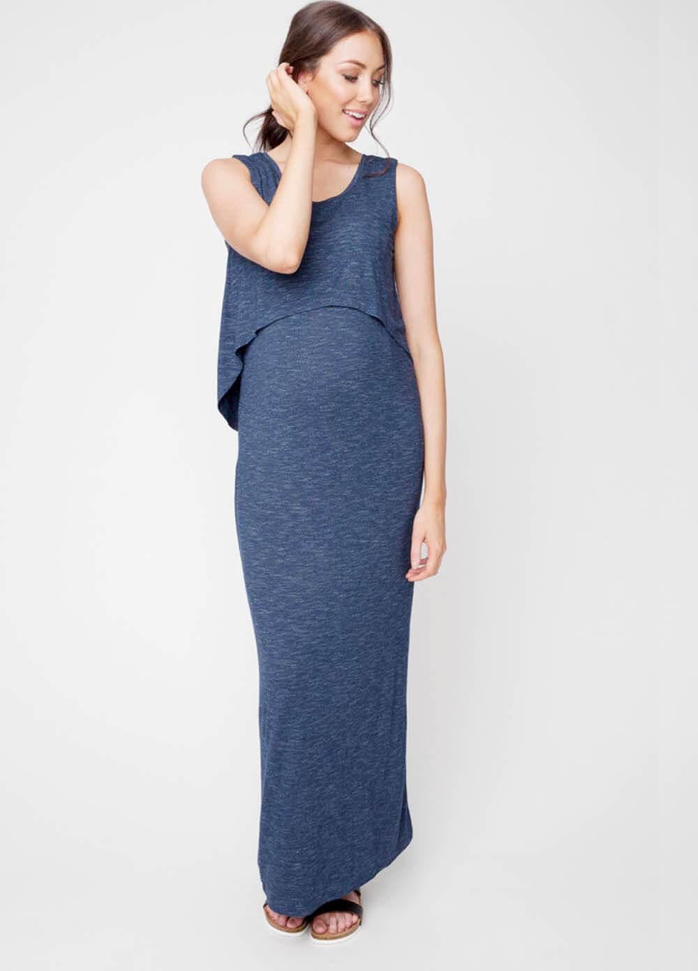 Swing Back Layered Maternity Nursing Maxi Dress in Blue by Ripe