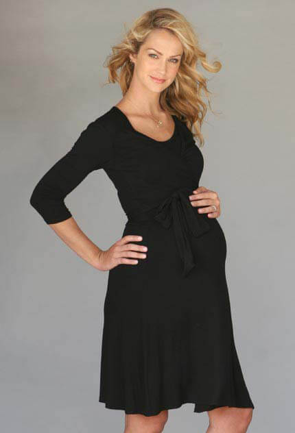 MR002 - Ella Maternity/Nursing Wrap Dress in Black