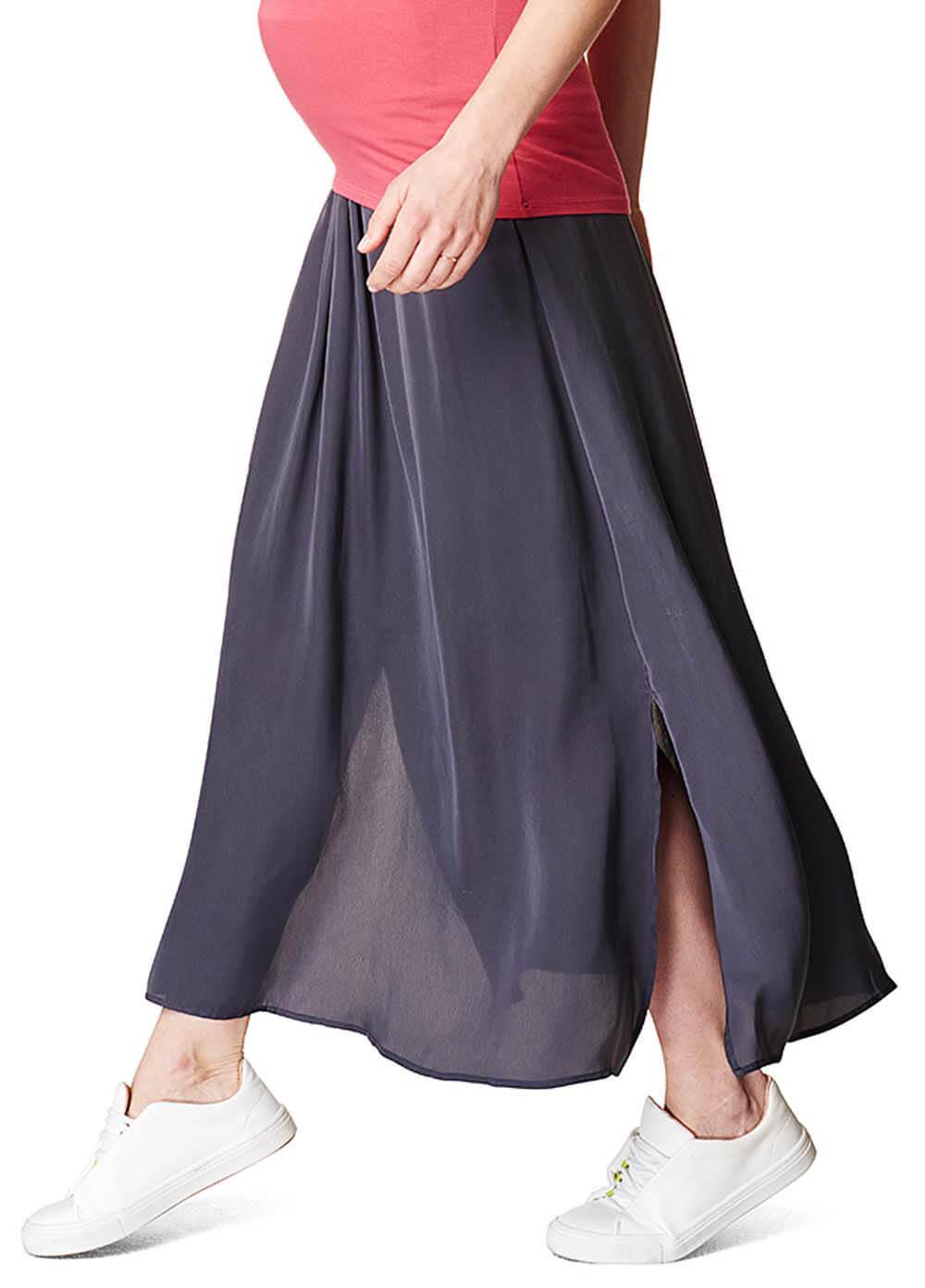 2446f27878f81 Fluid Side Split Maternity Maxi Skirt in Grey by Esprit