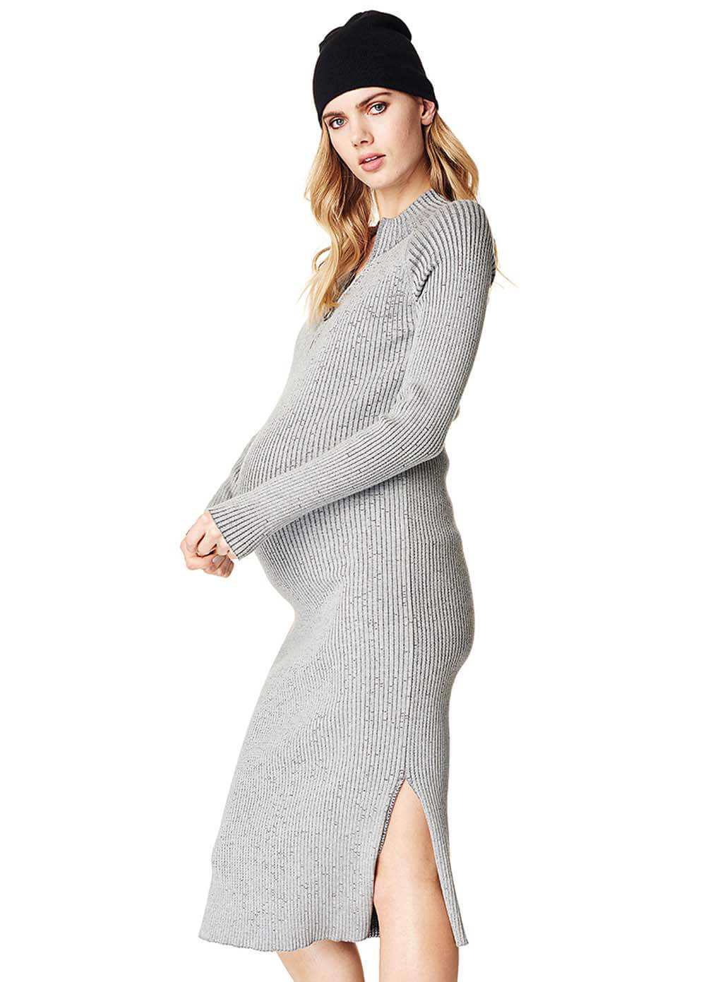 7fd346bc2578b Ribbed Knit Maternity Tube Dress in Grey by Supermom