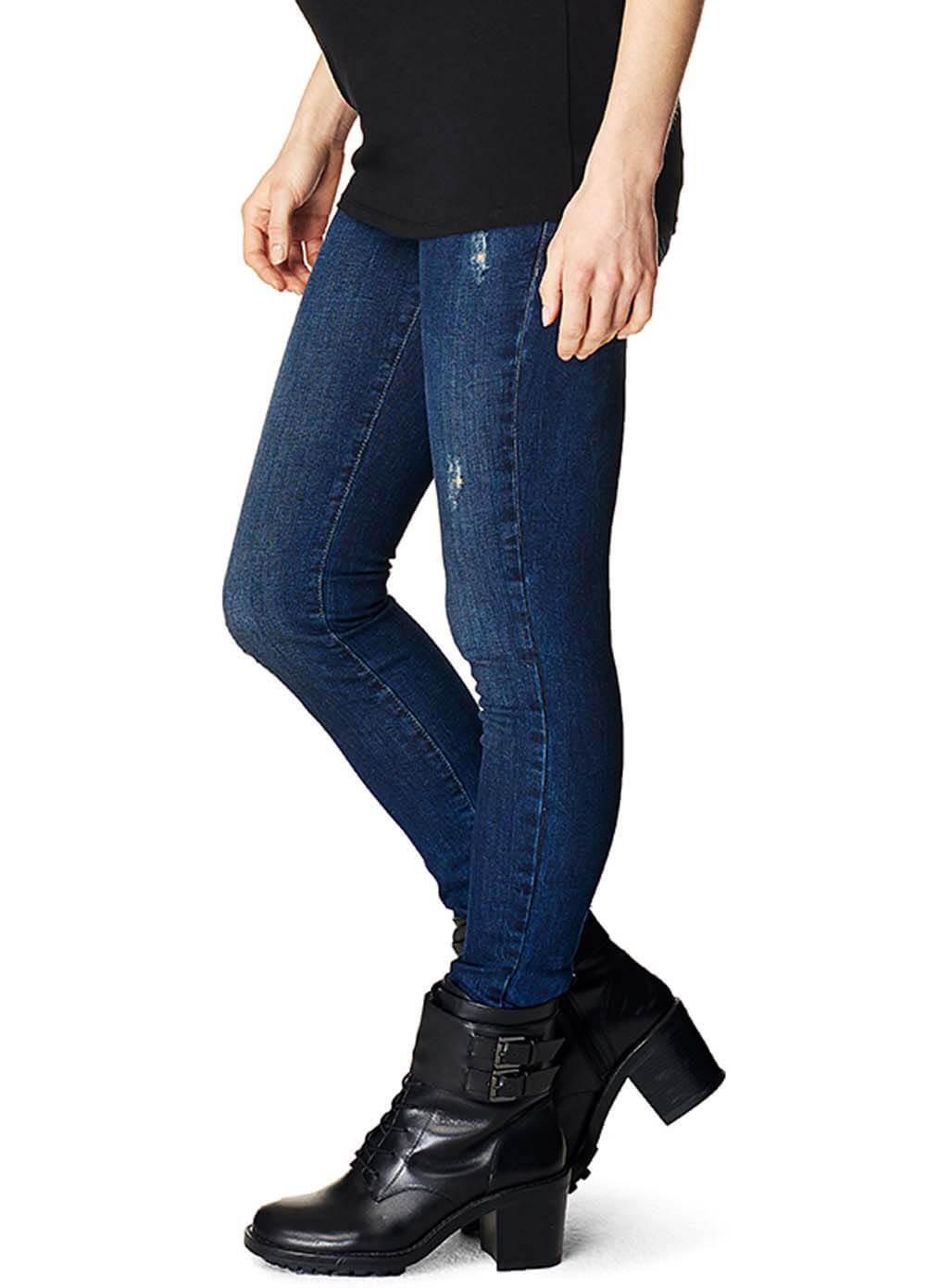 7eba42735dde5 Distressed Blue Skinny Maternity Jeans by Supermom