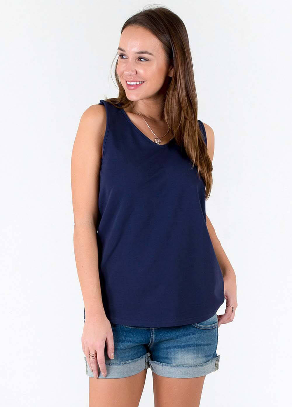15280b59c4d3b Nathan French Terry Postpartum Nursing Tank Top in Navy by Trimester