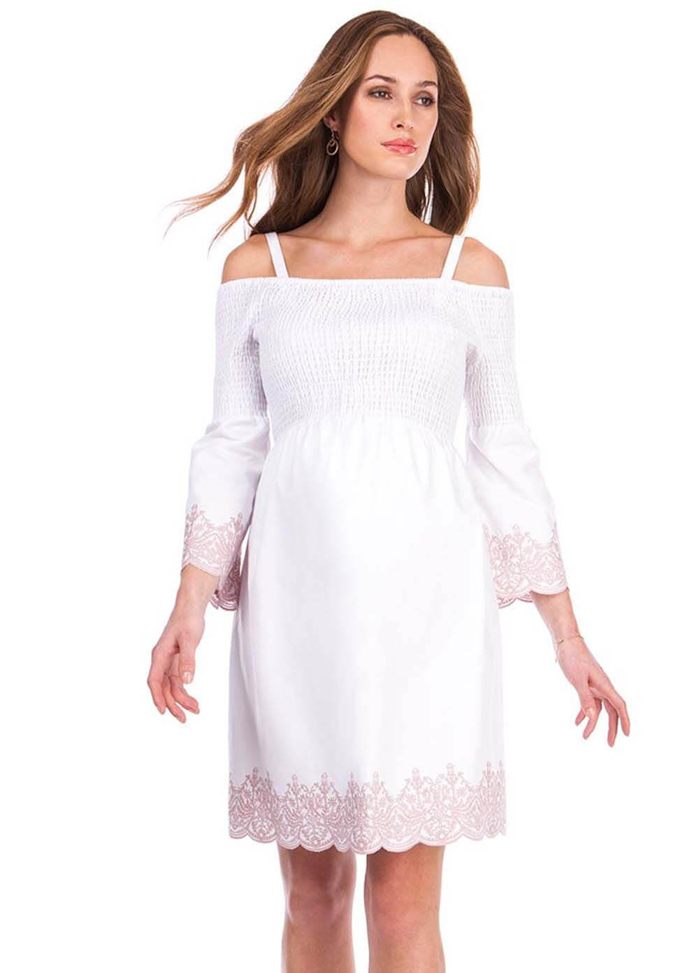 20039e22f82c1 Anais Shirred Off Shoulder Maternity Dress in White by Seraphine