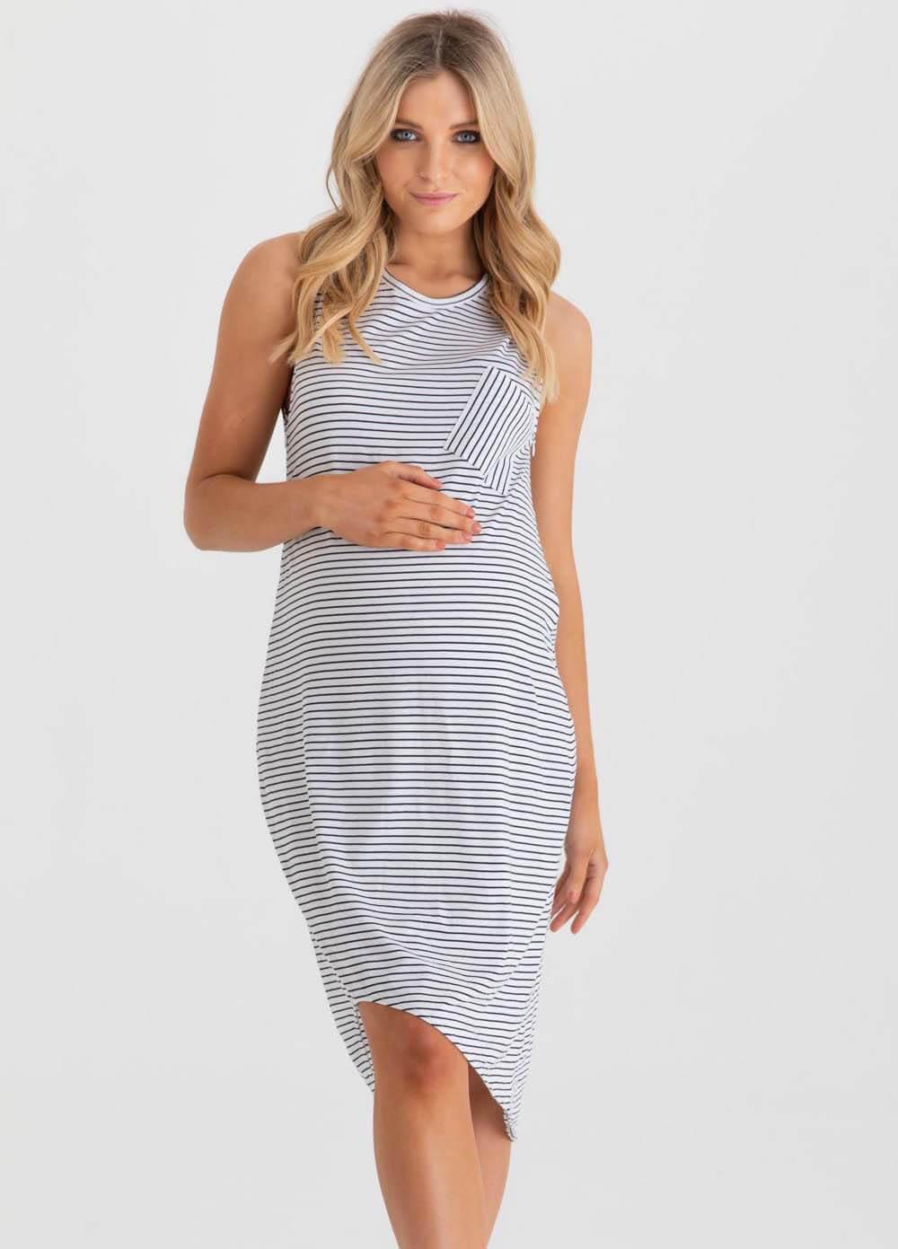 db98f54404 College Maternity Nursing Dress in White Black Stripes by Legoe