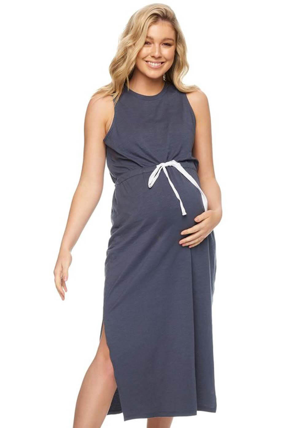 52586a9c467 All Tied Up Maternity   Nursing Midi Dress in Grey by Bae The Label