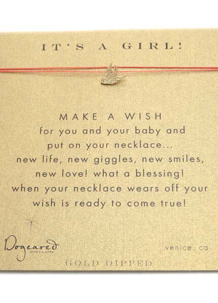 Queen Bee Its a Girl Make A Wish Silk Necklace w Robin Charm by Dogeared