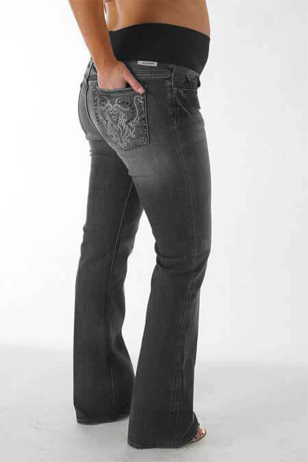 Queen Bee Beverly Rocks Thunder Maternity Jeans in Grey by J&Company