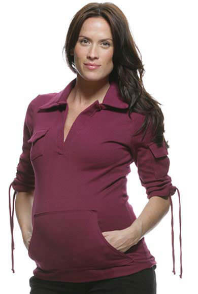 NOM2107 - Cargo Sweatshirt in Plum :  maternity casual maternity top maternity maternity clothes