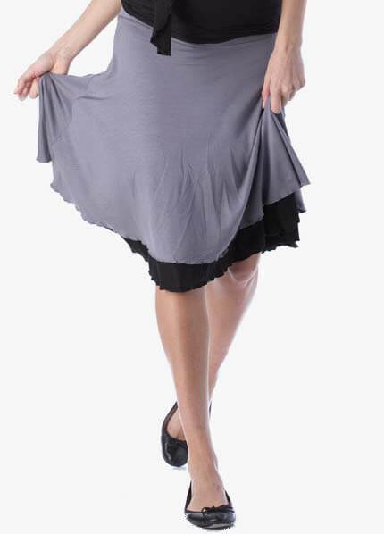 SER0013 - Seraphine Reversible Skirt in Grey/Black :  maternity fashion queen bee maternity maternity wear maternity