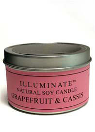 Illuminate - Soy-based Candle in Tin w Grapefruit & Cassis Fragrance