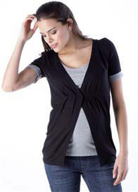 Seraphine - Demi Breastfeeding Top in Black/Grey