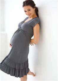 Belabumbum - Ruffle Nursing Dress in Gunmetal
