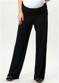 Crave - Rhea Black Jersey Foldover Trousers - ON SALE