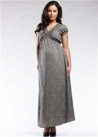 SOON Maternity - Jess Black Stripes Gathered Maxi Dress - ON SALE