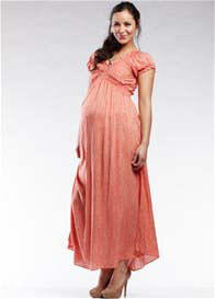 SOON Maternity - Jess Red Stripes Gathered Maxi Dress - ON SALE