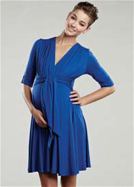 Maternal America - Royal Blue Mini Front Tie Dress - ON SALE