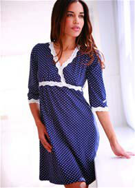 Belabumbum - Kimono Nursing Dress in Navy Polkadot