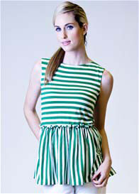 Milky Way - Emily Striped Peplum Nursing Top - ON SALE