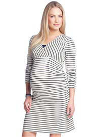 Esprit - Navy Striped Long Sleeved Nursing Dress - ON SALE