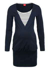 Esprit - Navy Tunic w Striped Inset - ON SALE