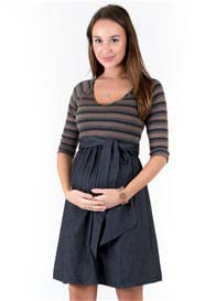 Maternal America - Striped Scoop Front Tie Dress - WINTER OFFER