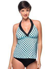 PregO - Aqua/Black Dot Trim Tankini